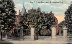 Ohio Postcard c1910 MIDDLETOWN Mrs. P.J. SARG Residence Gates