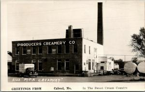 Cabool Missouri~MFA Producers Creamery Co~Ladder on Roof~Smokestack~1940s RPPC