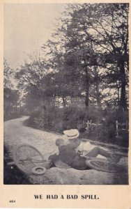 Bicycle Accident Cycle Disaster Old Comic Real Photo Postcard
