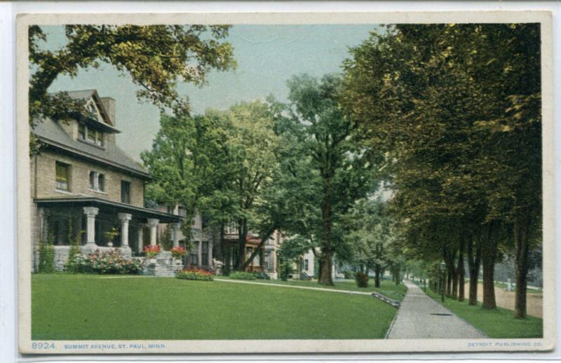 Summit Avenue St Paul Minnesota 1910c Phostint postcard