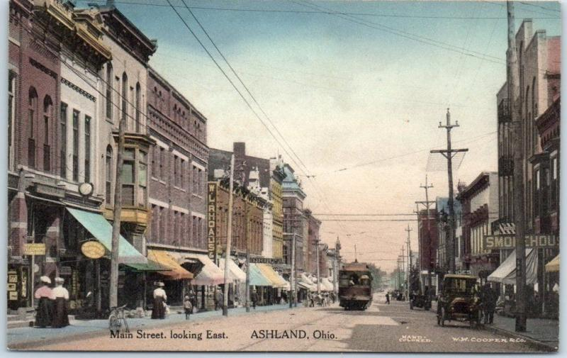 Ashland, Ohio Postcard MAIN STREET Downtown Scene HAND-COLORED Albertype c1910s