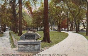 Maine Portland Entrance To Lincoln Park Showing Old Mill Stone 1910