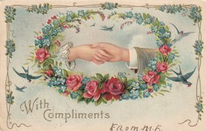 HANDS, PU-1906; With Compliments, Roses & Forget-Me-Nots, Birds