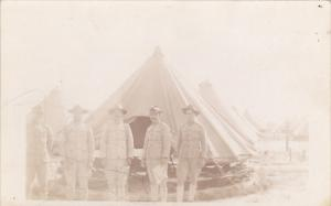 Military Soldiers In Uniform By Tent Real Photo