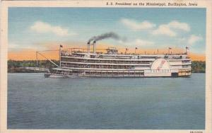 S S President On The Mississippi River Burlington Iowa 1942 Curteich