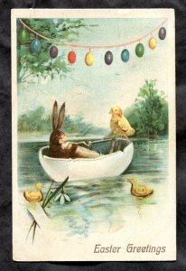 dc171 - EASTER GREETINGS 1908 Bunny & Chicks Egg Shell Boating