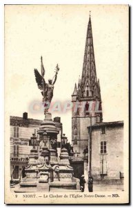 Old Postcard Niort The bell tower of the Church of Our Lady