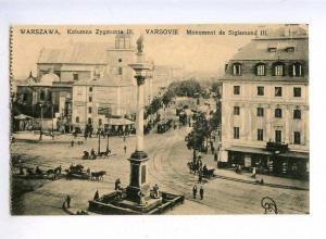 192633 POLAND WARSZAWA King Zygmunt III monument TRAM Vintage