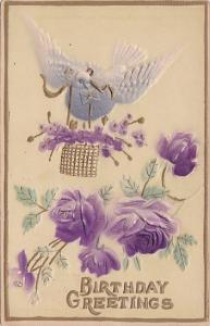 Birthday Greetings Dove With Purple Roses 1909