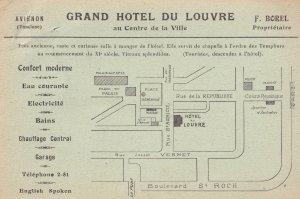 Hotel Du Louvre Avignon Ancienne Chapelle des Templiers France Postcard & MAP