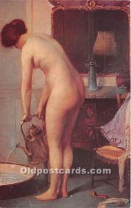 The Tub Nude Postcard Artist Sezille Des Essarts Unused