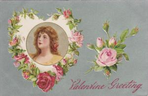 VALENTINES DAY; Greetings, Portrait of Woman, Pink and Red Roses, Silver B...