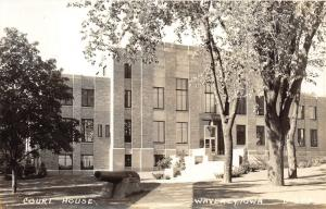 Waverly Iowa~Bremer County Court House~Cannon Displayed by Path~1940s RPPC D-323