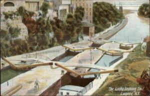 Lockport NY Looking East from Locks c1910 Private Postcard