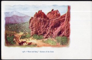 CO Bear and Seal Garden of the Gods men wagon and horses - Und/B - embossed