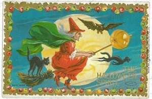 VINTAGE POSTCARD: HALLOWEEN - EMBOSSED - WITCHES
