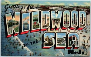 WILDWOOD-BY-THE-SEA Large Letter Postcard Bathing Beach Scene Curteich Linen