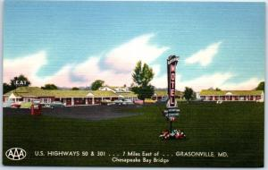 Grasonville MD Postcard BAY BRIDGE MOTEL Restaurant Route 50 301 Roadside Linen