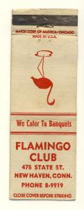 New Haven, Conn/CT Matchcover, The Flamingo Club Restaurant