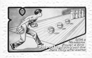 Old Vintage Bowling Postcard Post Card With a Handsome Bowler A Girls Life is...