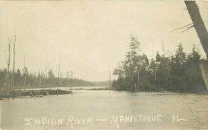 Manistique Illinois Indian River 1908 RPPC Photo Postcard 21--6240