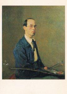 Sir William Rothenstein Bradford Art Gallery Self Portrait Painting Postcard