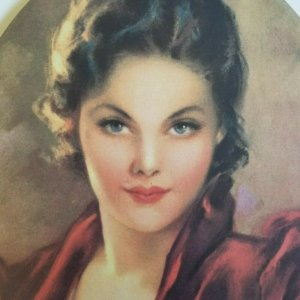 Victorian Lady with Seductive Eyes Large Vintage Victorian Style 1920's Litho