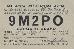 Malacca Malaysia Kuala Lumpur QSL 1960s Vintage Radio Card
