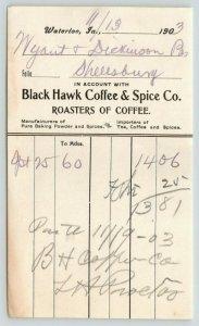 Waterloo IA Receipt~Black Hawk Coffee & Spice~Wyatt & Dickinson~Shellsburg 1903