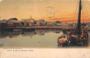 26208 MA, Rockport, 1905, A bit of Rockport Mass. Harbor with boats and town ...