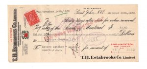 1933 Estabrooks, Red Rose Tea, Cheque w Canadian George V Stamp, Souris P.E.I.