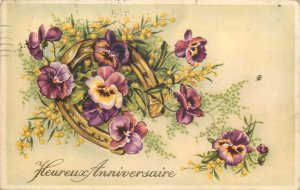 Postcard Greetings flowers bouquet luck