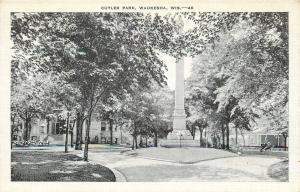 Waukesha Wisconsin~Homes Around Soldiers Monument~Cutler Park~1940 Postcard