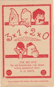 Artist A.G. SMITS ,The Big Five, Leaders of WWII : 5 Postcards & Wrapper