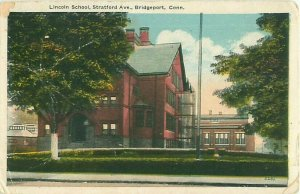 Bridgeport, CT Lincoln School on Stratford Ave 1920 Postcard