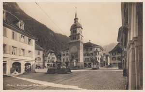 RP  Trolly car in Altdorf, Switzerland, 1910s   Dorfplatz mit Telldenkmal ; #2