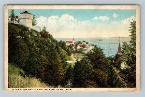 Mackinac Island MI-Michigan, Block House & Village, Vintage Postcard