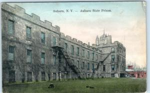 AUBURN, New York  NY   Hand Colored  AUBURN STATE PRISON  1907  UDB  Postcard
