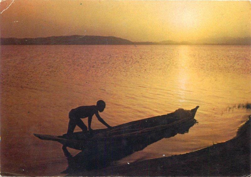 Postcard Tchad Lere lake sunset aspect native boy boat sailing
