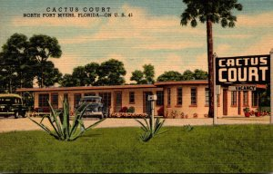 Florida Fort Myers Cactus Court 1955 Curteich