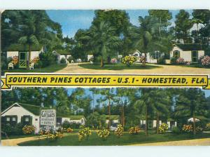 Unused Linen SOUTHERN PINES MOTEL COTTAGES Homestead Florida FL t0360