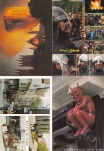Death & Disaster in York Vikings Fire Satan Transportation 4x Unique Postcard s