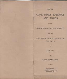 Complete Coal Mine List, Monongahela & Allegheny Rivers, PA. ,1923