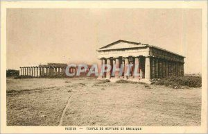 Old Postcard PAESTUM - TEMPLE OF NEPTUNE AND BASIL