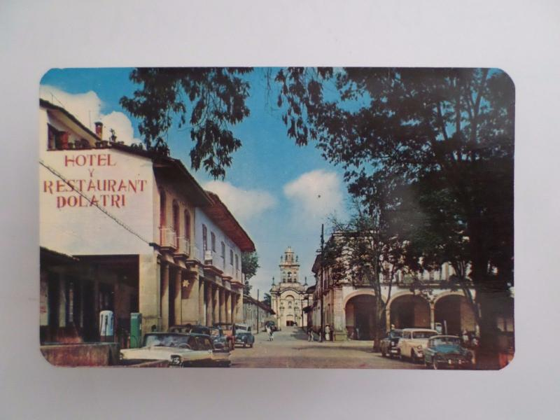 MEXICO HOTEL & CHURCH & CLASSIC CAR CARS AUTOMOBILES 1960 YEARS POSTCARD z1