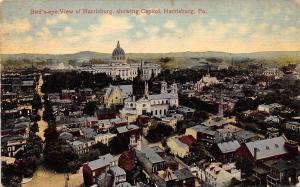 Harrisburg Pennsylvania~Birdseye Panorama~Homes~Business~Capitol~1914 Postcard