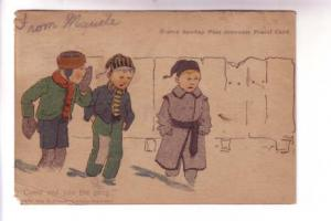 Boston Post Newspaper Souvenir Postal Card, Boys in Winter, 1904 Associated S...