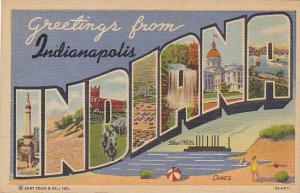 Large Letter Greetings From INDIANA - Indianapolis  , 30-40s