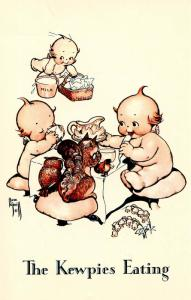 The Kewpies Eating.  Artist: Rose O'Neill   (Reproduction)