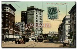 Postcard Old Main Street Winnipeg, Man Tramway